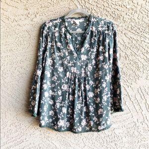 CASLON ✨NWOT✨ Olive Floral Printed Boho Tunic Top